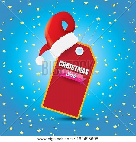 vector Christmas sales tag or label with red santa hat isolated on white background. Red winter Christmas sale poster or background