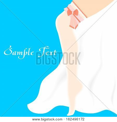 illustration with beautiful womans leg on the theme of bachelorette party.
