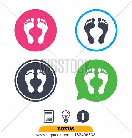 Human footprint sign icon. Barefoot symbol. Foot silhouette. Report document, information sign and light bulb icons. Vector
