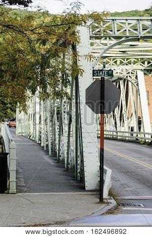 Shelburne Falls Truss Bridge across Deerfield River in Shelburne Falls Massachusetts