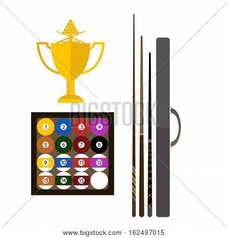 Billiards fun game equipment activity challenge symbols. Vector green snooker competition play leisure illustration. Tournament sport gambling action recreation club.