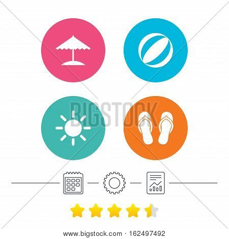 Beach holidays icons. Ball, umbrella and flip-flops sandals signs. Summer sun symbol. Calendar, cogwheel and report linear icons. Star vote ranking. Vector