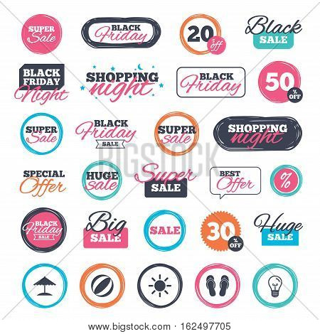 Sale shopping stickers and banners. Beach holidays icons. Ball, umbrella and flip-flops sandals signs. Summer sun symbol. Website badges. Black friday. Vector