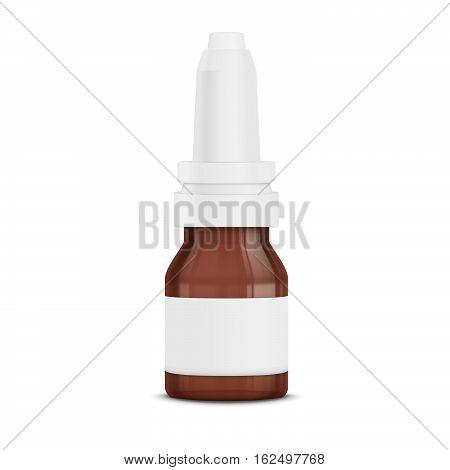 Realistic blank nasal spray bottle. Eye drops. Mockup bottle with medical drug.