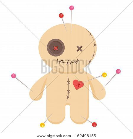 Cute minomalistic voodoo doll isolated on white background.