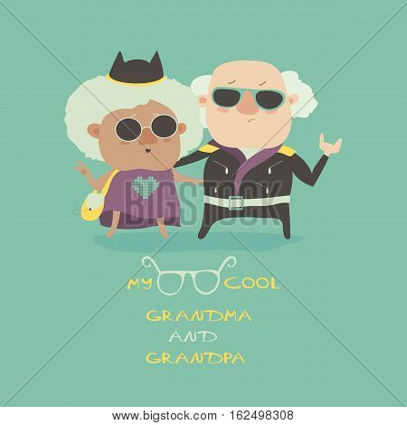Cool grandma and grandpa wearing in leather jacket. Vector illustration