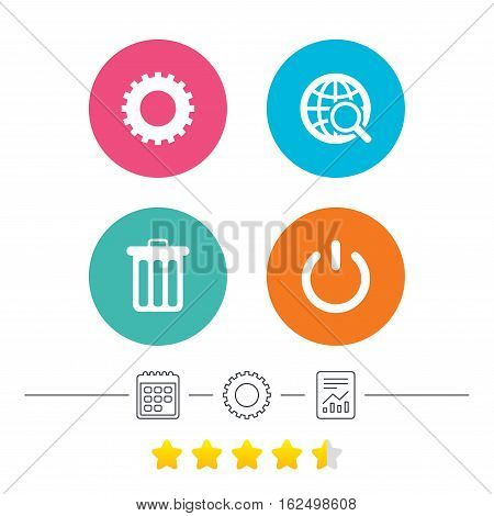 Globe magnifier glass and cogwheel gear icons. Recycle bin delete and power sign symbols. Calendar, cogwheel and report linear icons. Star vote ranking. Vector