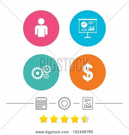 Business icons. Human silhouette and presentation board with charts signs. Dollar currency and gear symbols. Calendar, cogwheel and report linear icons. Star vote ranking. Vector