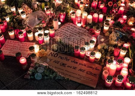 Candles, Flowers And Condolence Messages At Christmas Market In Berlin