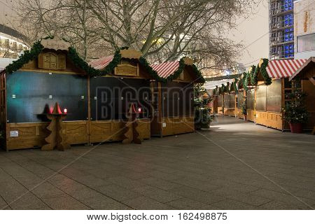 Closed Market Stalls At Christmas Market In Berlin