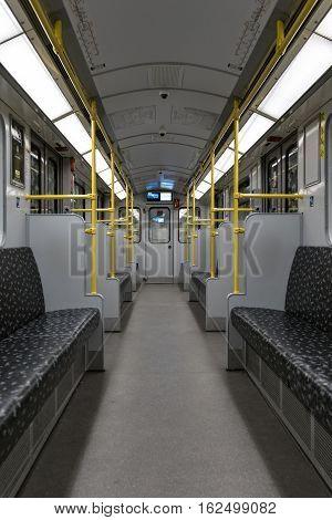 Empty Bvg Subway Train (u-bahn) / Metro Train In Berlin