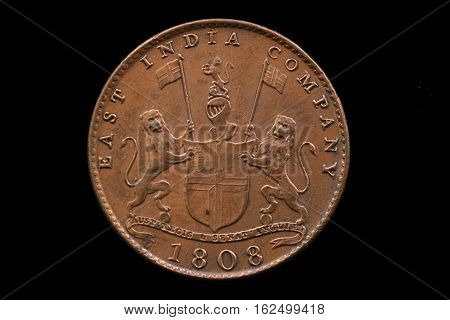 British East India Company Coin Isoalted On Black