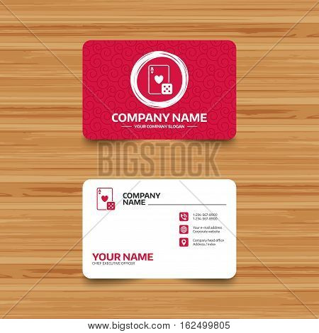 Business card template with texture. Casino sign icon. Playing card with dice symbol. Phone, web and location icons. Visiting card  Vector