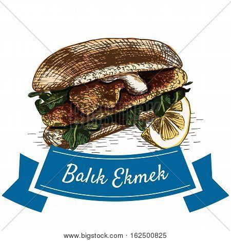 Balik Ekmek colorful illustration. Vector illustration of turkish cuisine.