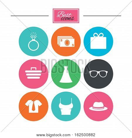 Accessories, clothes icons. Shirt with tie, glasses signs. Dress and engagement ring symbols. Colorful flat buttons with icons. Vector
