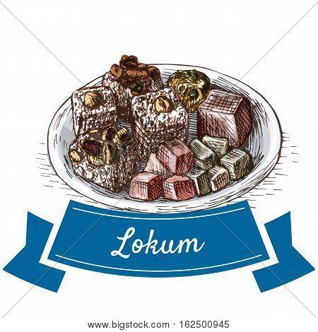 Lokum colorful illustration. Vector illustration of turkish cuisine.