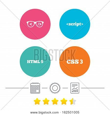 Programmer coder glasses icon. HTML5 markup language and CSS3 cascading style sheets sign symbols. Calendar, cogwheel and report linear icons. Star vote ranking. Vector