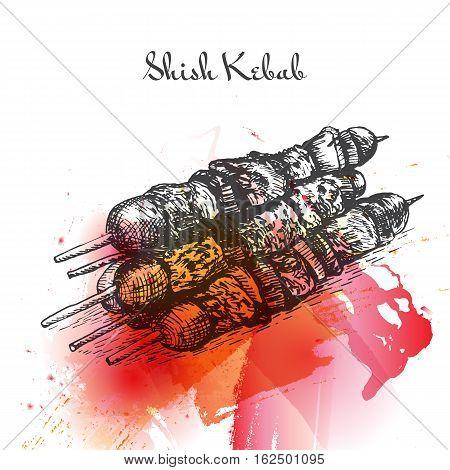Shish Kebab watercolor effect illustration. Vector illustration of Turkish cuisine.