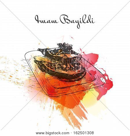 Imam Bauildi watercolor effect illustration. Vector illustration of Turkish cuisine.