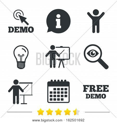 Demo with cursor icon. Presentation billboard sign. Man standing with pointer symbol. Information, light bulb and calendar icons. Investigate magnifier. Vector