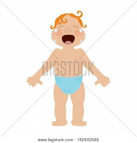 Kid with negative emotion isolated on white background. Baby expression cheerful sad face. Adorable beautiful little crying person funny vector portrait.