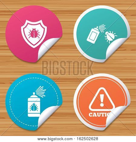 Round stickers or website banners. Bug disinfection icons. Caution attention and shield symbols. Insect fumigation spray sign. Circle badges with bended corner. Vector