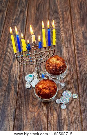 Image Of Jewish Holiday Hanukkah Background With Menorah Traditional