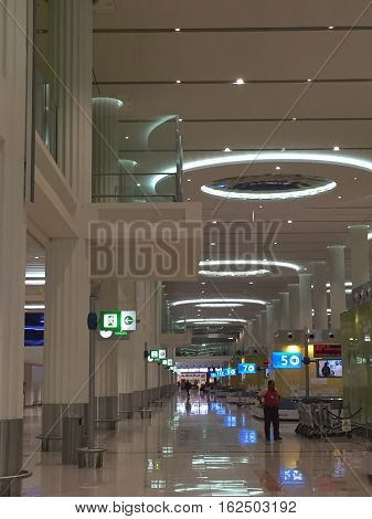 DUBAI, UAE - NOV 24: The newer Terminal 3 (Emirates) at Dubai International Airport, one of the busiest airports, on Feb 1, 2014. It is the single largest building in the world by floor space.