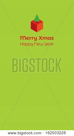 Vector holiday design with isometric cube and fir tree on a green yellow background. Text
