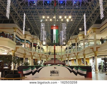 DUBAI, UAE - NOV 27: National Day decorations at Wafi Mall in Dubai, UAE, as seen on Nov 27, 2016. Wafi City, styled after ancient Egypt, is a mixed-use development including a mall, hotel, restaurants, and residences.