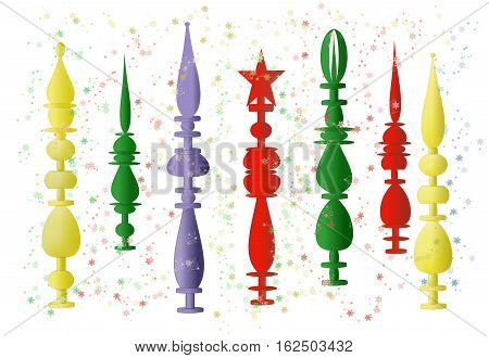 An illustration of a variety of ornaments to be placed on top of a Christmas tree in red, blue, yellow, and green