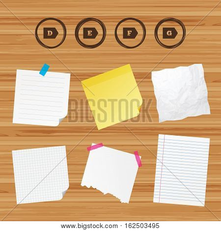 Business paper banners with notes. Energy efficiency class icons. Energy consumption sign symbols. Class D, E, F and G. Sticky colorful tape. Vector