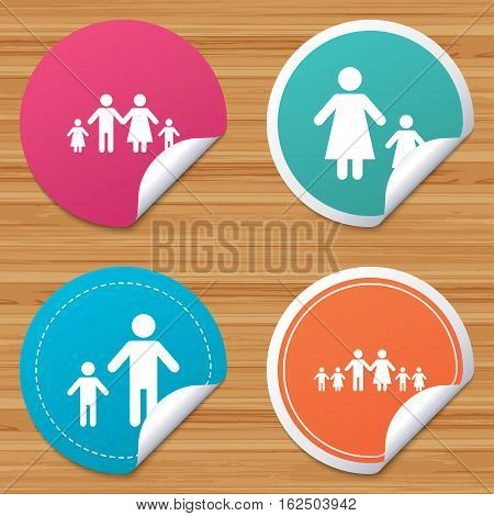 Round stickers or website banners. Large family with children icon. Parents and kids symbols. One-parent family signs. Mother and father divorce. Circle badges with bended corner. Vector