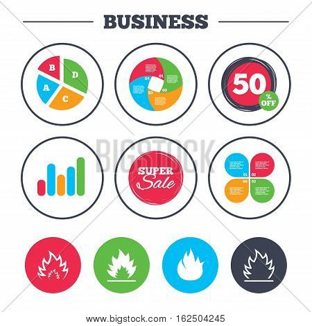 Business pie chart. Growth graph. Fire flame icons. Heat symbols. Inflammable signs. Super sale and discount buttons. Vector