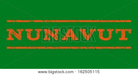 Nunavut watermark stamp. Text caption between horizontal parallel lines with grunge design style. Rubber seal stamp with scratched texture. Vector orange color ink imprint on a green background.