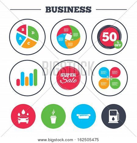 Business pie chart. Growth graph. Petrol or Gas station services icons. Automated car wash signs. Hotdog sandwich and hot coffee cup symbols. Super sale and discount buttons. Vector