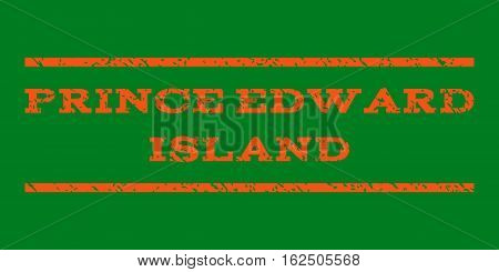Prince Edward Island watermark stamp. Text tag between horizontal parallel lines with grunge design style. Rubber seal stamp with unclean texture.