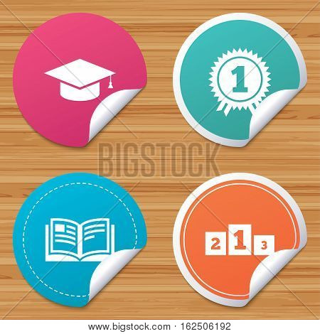 Round stickers or website banners. Graduation icons. Graduation student cap sign. Education book symbol. First place award. Winners podium. Circle badges with bended corner. Vector