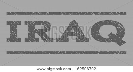 Iraq watermark stamp. Text caption between horizontal parallel lines with grunge design style. Rubber seal stamp with unclean texture. Vector dark gray color ink imprint on a silver background.