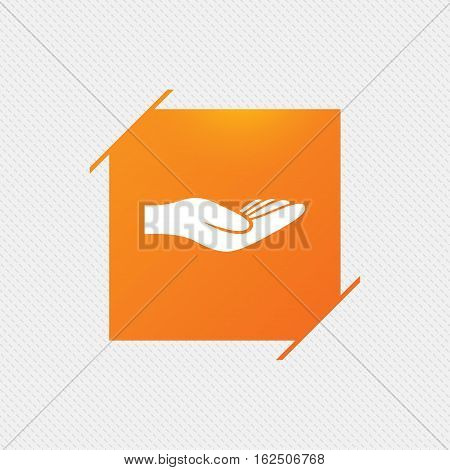 Donation hand sign icon. Charity or endowment symbol. Human helping hand palm. Orange square label on pattern. Vector
