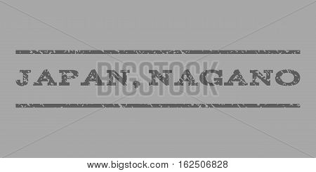 Japan, Nagano watermark stamp. Text tag between horizontal parallel lines with grunge design style. Rubber seal stamp with dirty texture. Vector dark gray color ink imprint on a silver background.