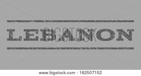 Lebanon watermark stamp. Text tag between horizontal parallel lines with grunge design style. Rubber seal stamp with dirty texture. Vector dark gray color ink imprint on a silver background.