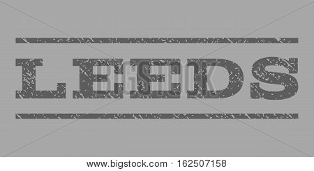 Leeds watermark stamp. Text caption between horizontal parallel lines with grunge design style. Rubber seal stamp with unclean texture. Vector dark gray color ink imprint on a silver background.