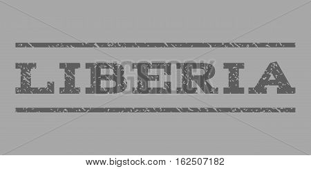 Liberia watermark stamp. Text tag between horizontal parallel lines with grunge design style. Rubber seal stamp with scratched texture. Vector dark gray color ink imprint on a silver background.