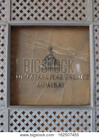 MUMBAI, INDIA - NOV 29: The Taj Mahal Palace Hotel in Mumbai, India, as seen on Nov 29, 2016. Part of the Taj Hotels Resorts and Palaces, this hotel is considered the flagship property of the group and contains 560 rooms and 44 suites.