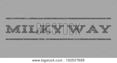 Milky Way watermark stamp. Text tag between horizontal parallel lines with grunge design style. Rubber seal stamp with scratched texture. Vector dark gray color ink imprint on a silver background.