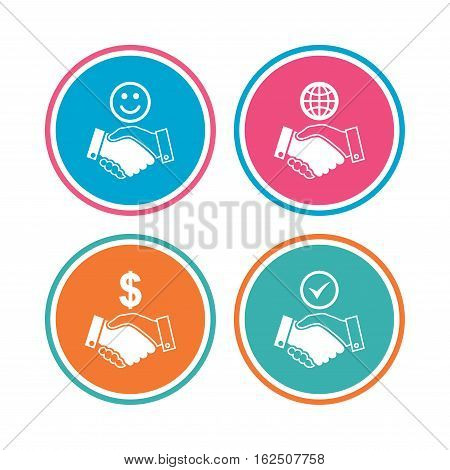 Handshake icons. World, Smile happy face and house building symbol. Dollar cash money. Amicable agreement. Colored circle buttons. Vector