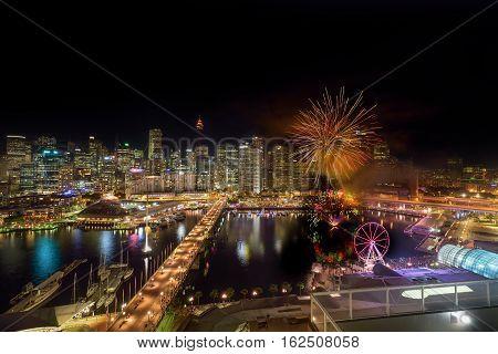 Sydney, Australia - December 20, 2016 : : Fireworks At Darling Harbour, Adjacent To The City Center