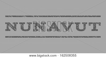 Nunavut watermark stamp. Text tag between horizontal parallel lines with grunge design style. Rubber seal stamp with unclean texture. Vector dark gray color ink imprint on a silver background.