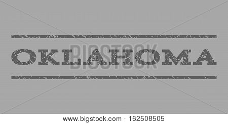 Oklahoma watermark stamp. Text caption between horizontal parallel lines with grunge design style. Rubber seal stamp with dust texture. Vector dark gray color ink imprint on a silver background.